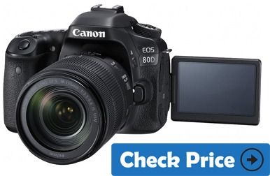 Canon EOS 80D best vlogging camera with flip screen